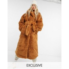 COLLUSION belted longline teddy overcoat in tobacco Women Coats At Target TIXO415