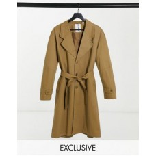 COLLUSION unisex oversized belted trench in sand Women Coats fashion guide KNYH562