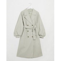 DESIGN extreme balloon sleeve trench coat in sage Women Coats Selling Well CTAU295