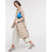 & Other Stories recycled wool check longline shacket in grey and brown Women Jackets Deals LGMN507
