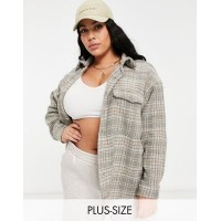 Missguided Plus oversized shacket in grey check Women Jackets The Most Popular JKTB566