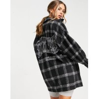 The Couture Club textured shacket in black check Women Jackets outfits CMTE667