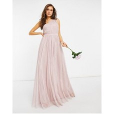 Anaya With Love Bridesmaid tulle one shoulder maxi dress in pink Women A Line Dresses EITQ620