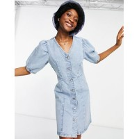 Pieces denim mini dress with puff sleeves in blue Women Denim Dresses guide BXXC791