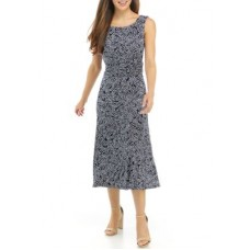 Connected Apparel Women Casual Dresses Navy the best - Women's Sleeveless Floral Ruched Waist Midi Dress MNDU12340