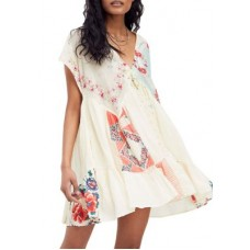Free People Women Casual Dresses Light Combo Cheap - Mended with Scarves Mini Dress TZRF27088