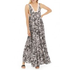 Free People Women Casual Dresses Washed Black Combo - Sleeveless Floral Tiered Maxi Dress MFEG6874