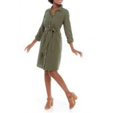New Directions® Women Casual Dresses Army Olive cool designs - Women's Roll Tab Collared Dress QGHC30039
