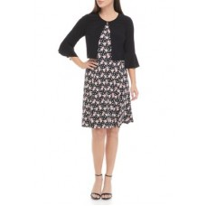 Perceptions Women Casual Dresses Black/Pink cool designs - Women's Floral Fit and Flare Dress with Bell Sleeve Jacket CKLT82829