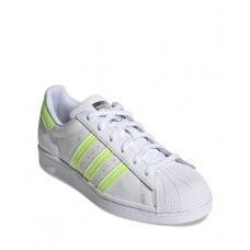 Adidas Young Women's Women's Superstar Lace Up Sneakers White/Neon Yellow on style JMRO356